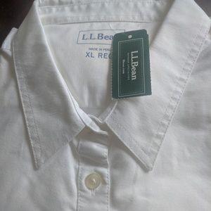 White LL Bean Women's Oxford LL Shirt-XL